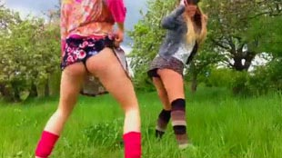 Teens in skirts dancing and twerking